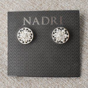 Nadri Crystal Mandala Silver Tone Earrings